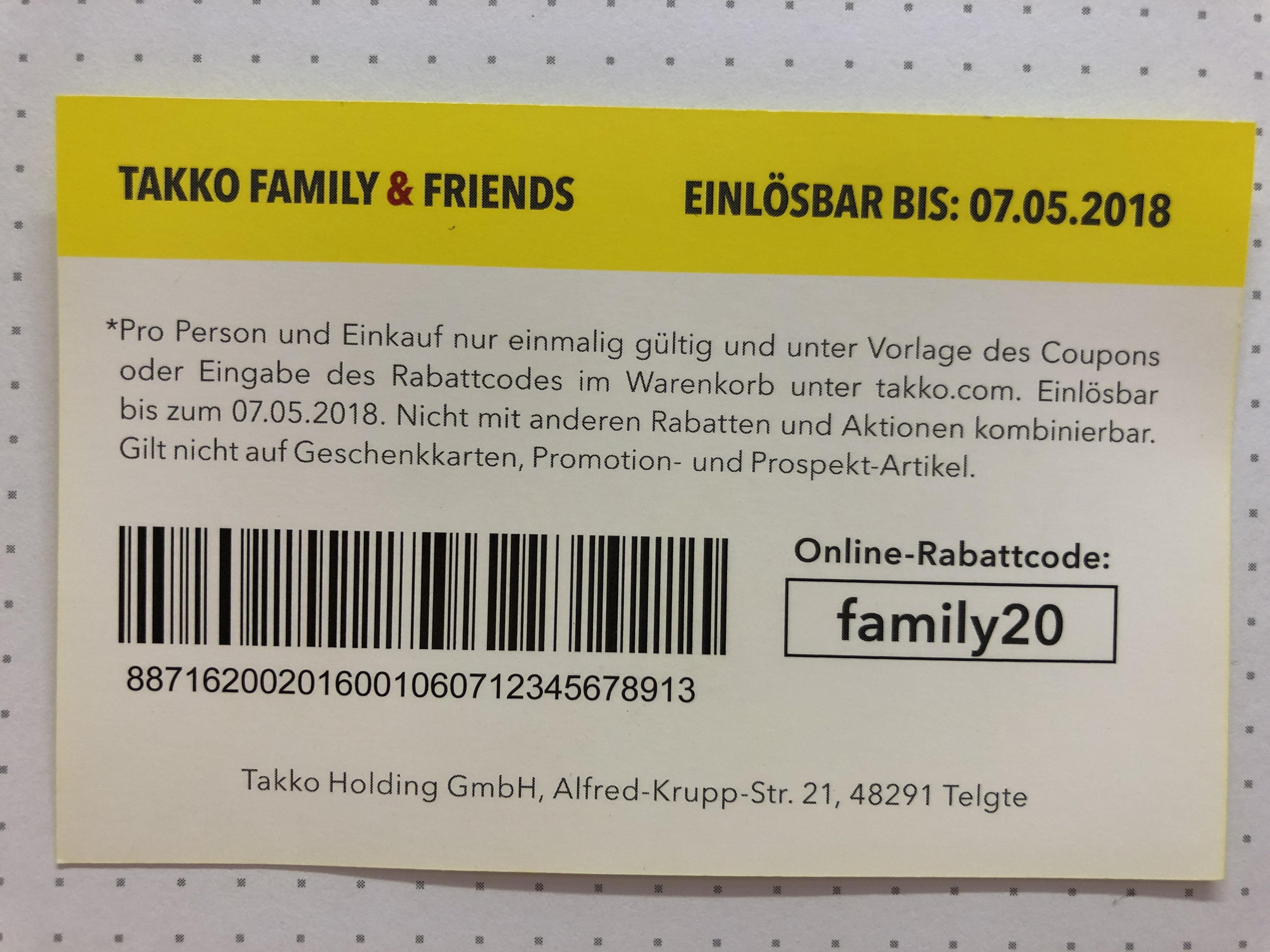20 Prozent auf den gesamten Einkauf bei TAKKO (in der Filiale und Online)