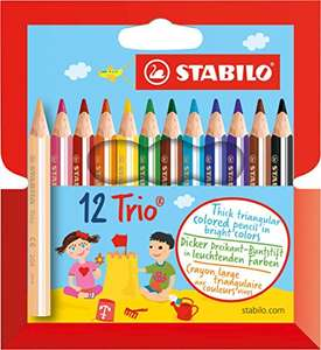 [Amazon PLUS-Produkt] Dreikant-Buntstift - STABILO Trio dick kurz - 12er Pack - mit 12 verschiedenen Farben