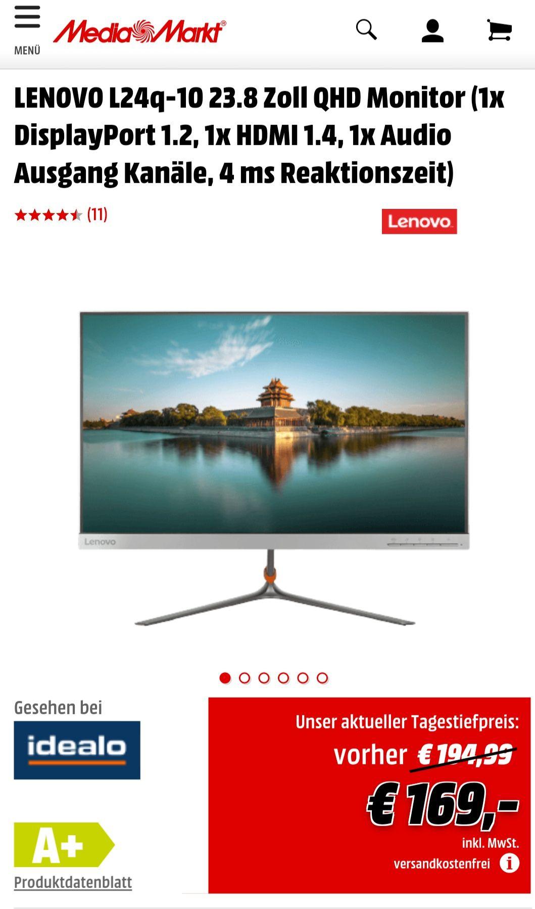 LENOVO L24q-10 23.8 Zoll QHD Monitor IPS WQHD
