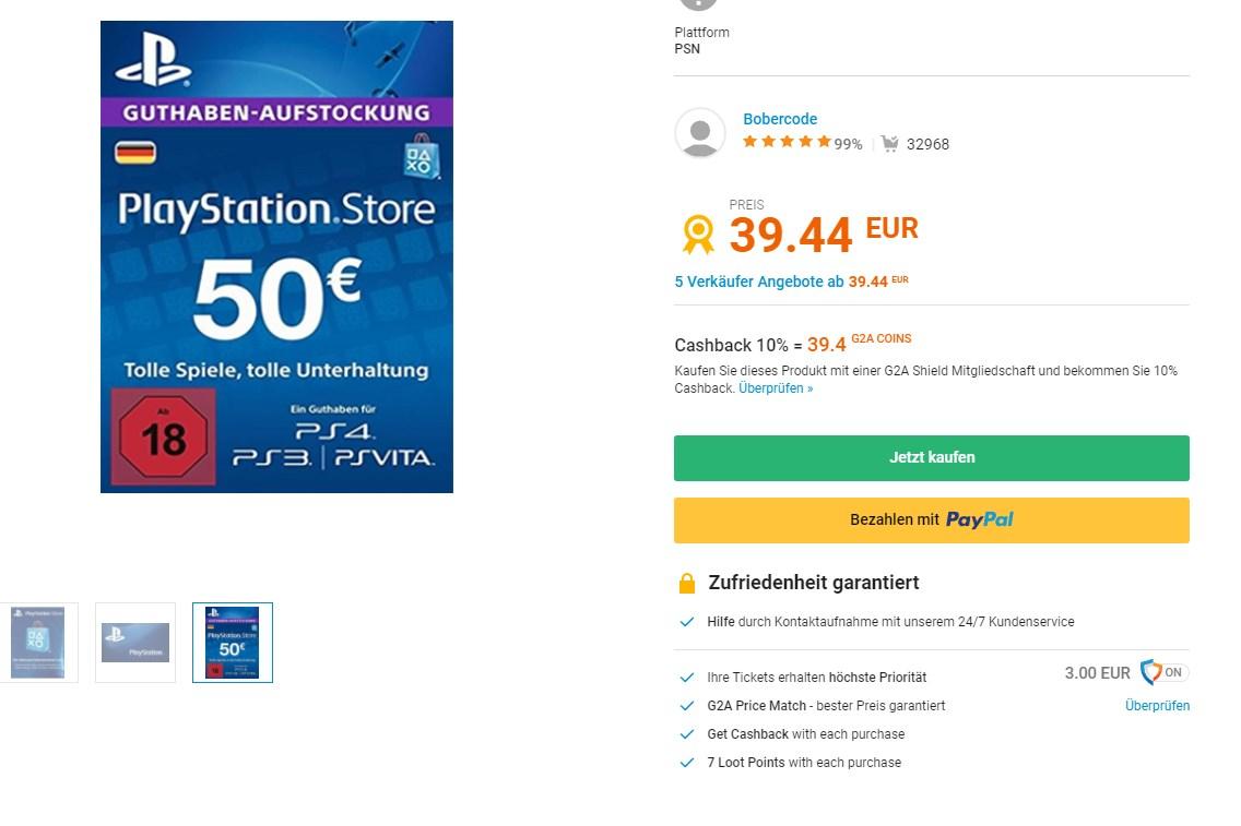 (leider abgelaufen) PSN 50 Card für 39.44 € (leider abgelaufen)