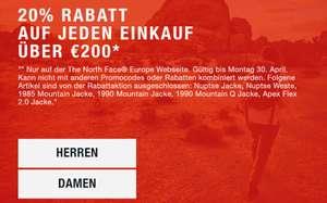 The North Face Europe Onlineshop 20% Aktion