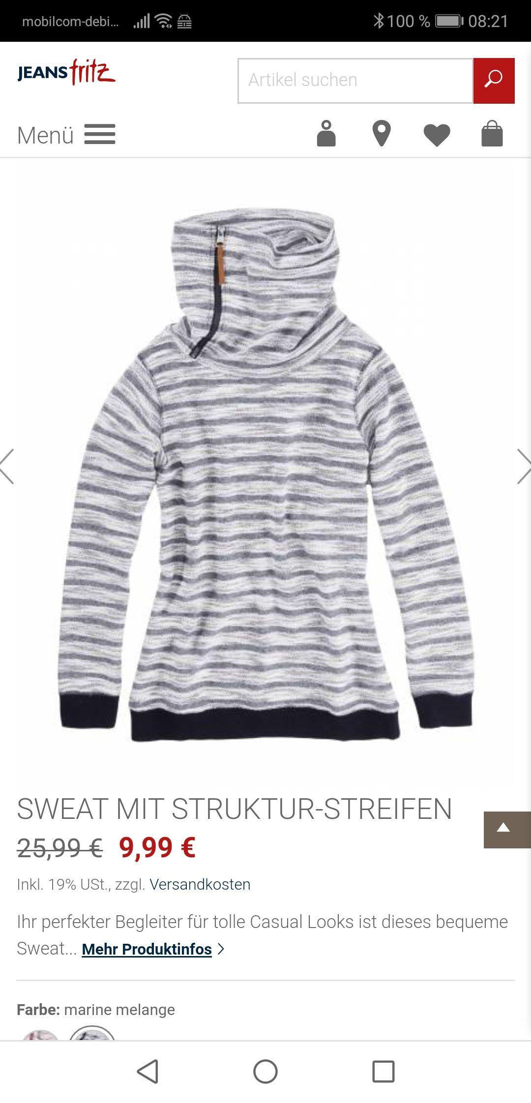 Jeans Fritz Sale stark reduziert: SWEAT MIT STRUKTUR-STREIFEN