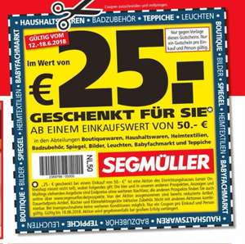 Lokal Segmüller 25 Euro Gutschein bei einem Einkauf ab 50 Euro