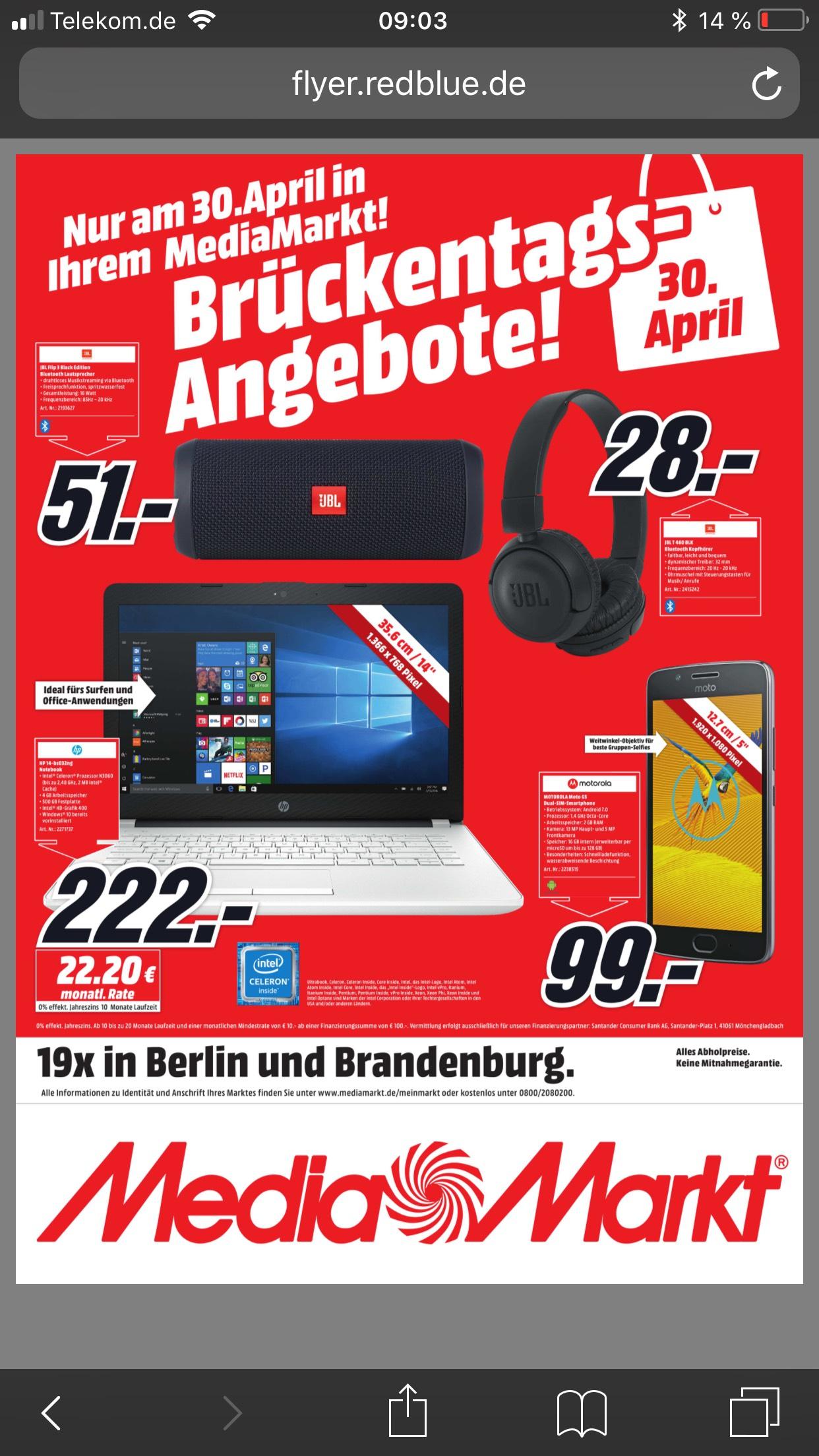 (Lokal) Brückentags-Angebot nur in den MediaMärkten Berlin und Brandenburg