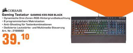 [Regional Saturn Duisburg] Corsair Gaming K55 RGB Rubber Dome RGB LED Schwarz für 39,10€ // AVM FRITZ!Fon C5 für 44,10€