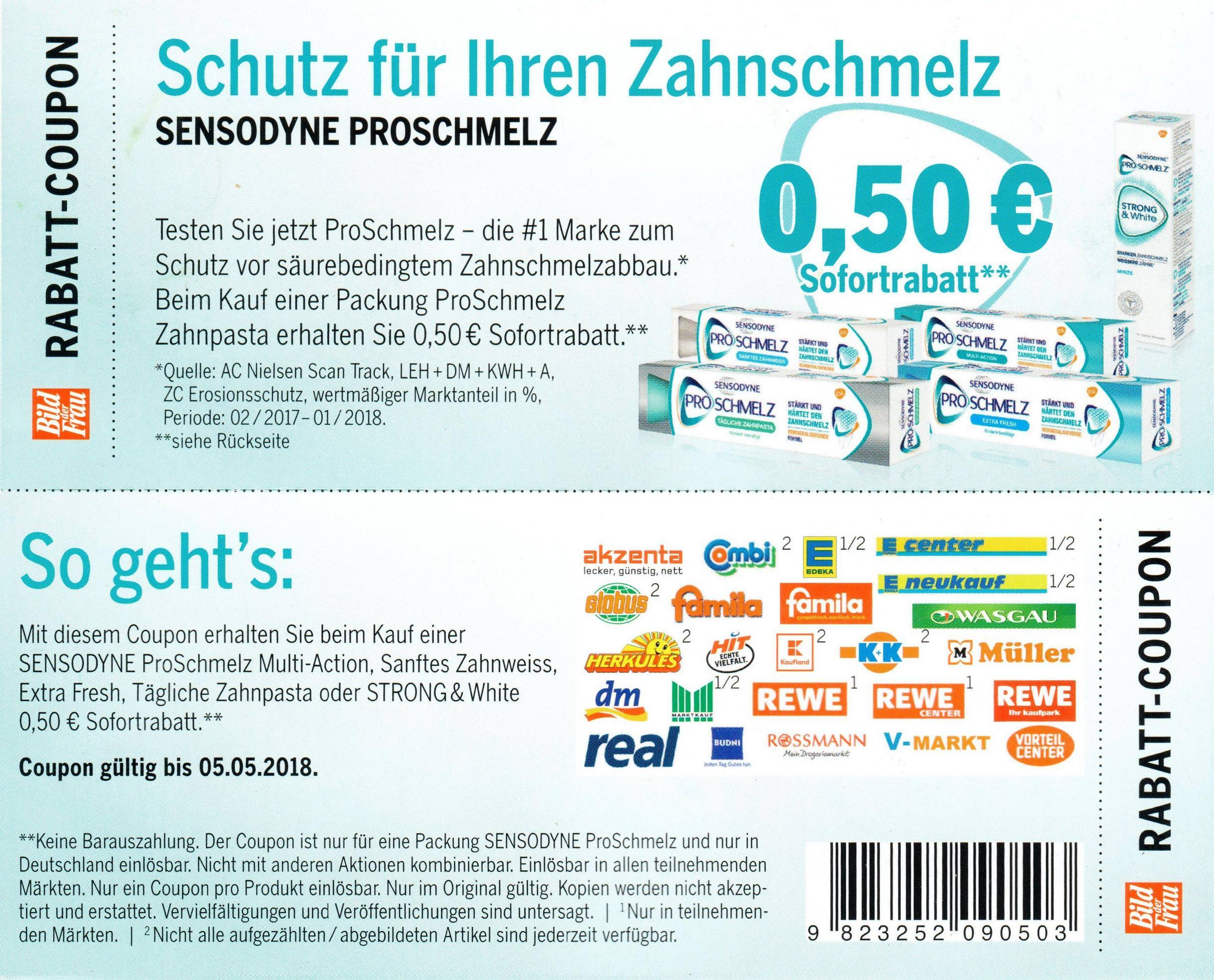 Neuer -0,50€ Coupon für Sensodyne Proschmelz (andere EAN) bis 05.05.2018