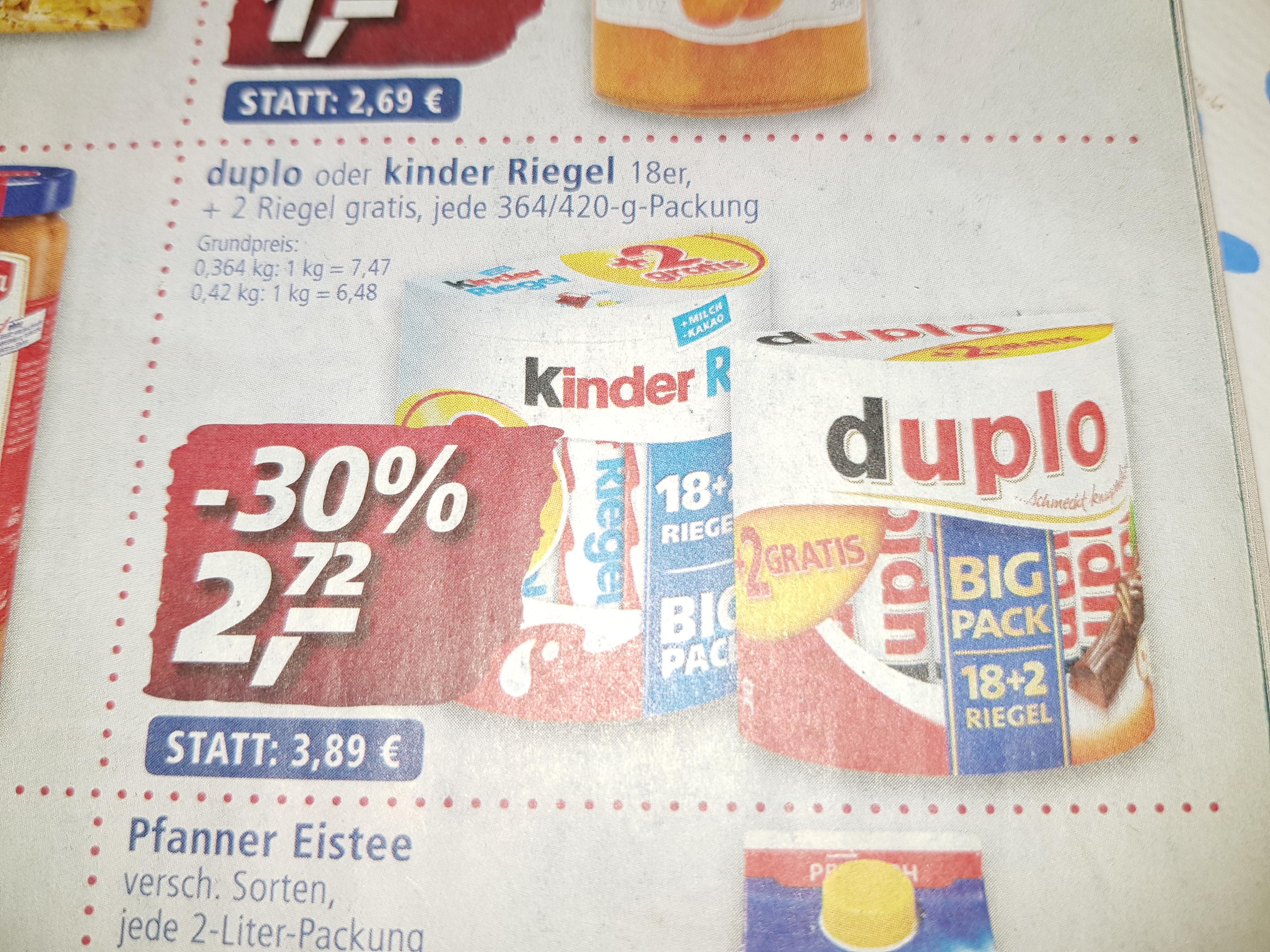 Duplo oder Kinder Riegel 18+2 Big Pack bei real