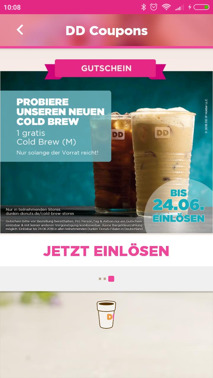 [Dunkin Donuts App] Bis zu 4 mal Gratis Cold Brew Getränk.