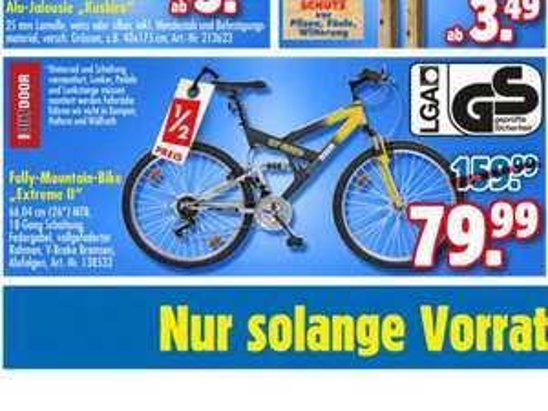 Fahrrad - Fully-Mountain-Bike Extreme II 26'' für 80 Euro bei Praktiker