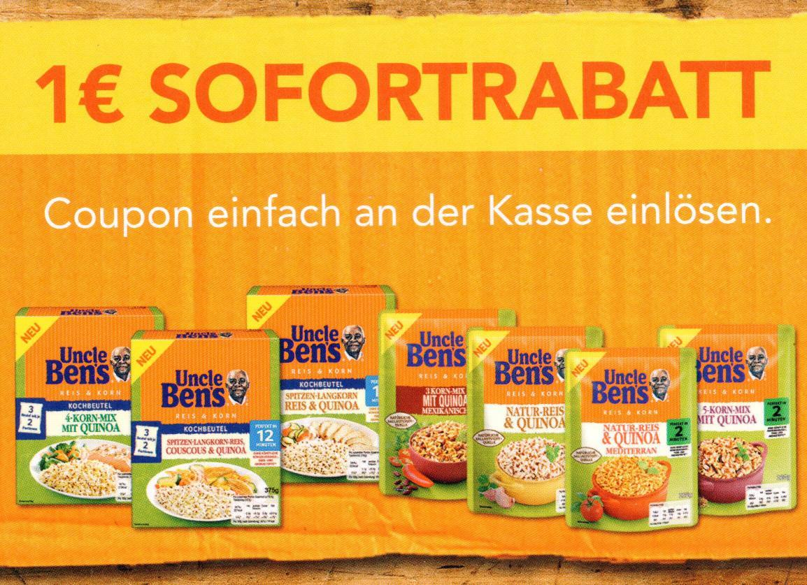 """Neuer Uncle Ben's 1,00€ Coupon für 1 Packung """"Reis & Korn"""" bis 31.07.2018"""