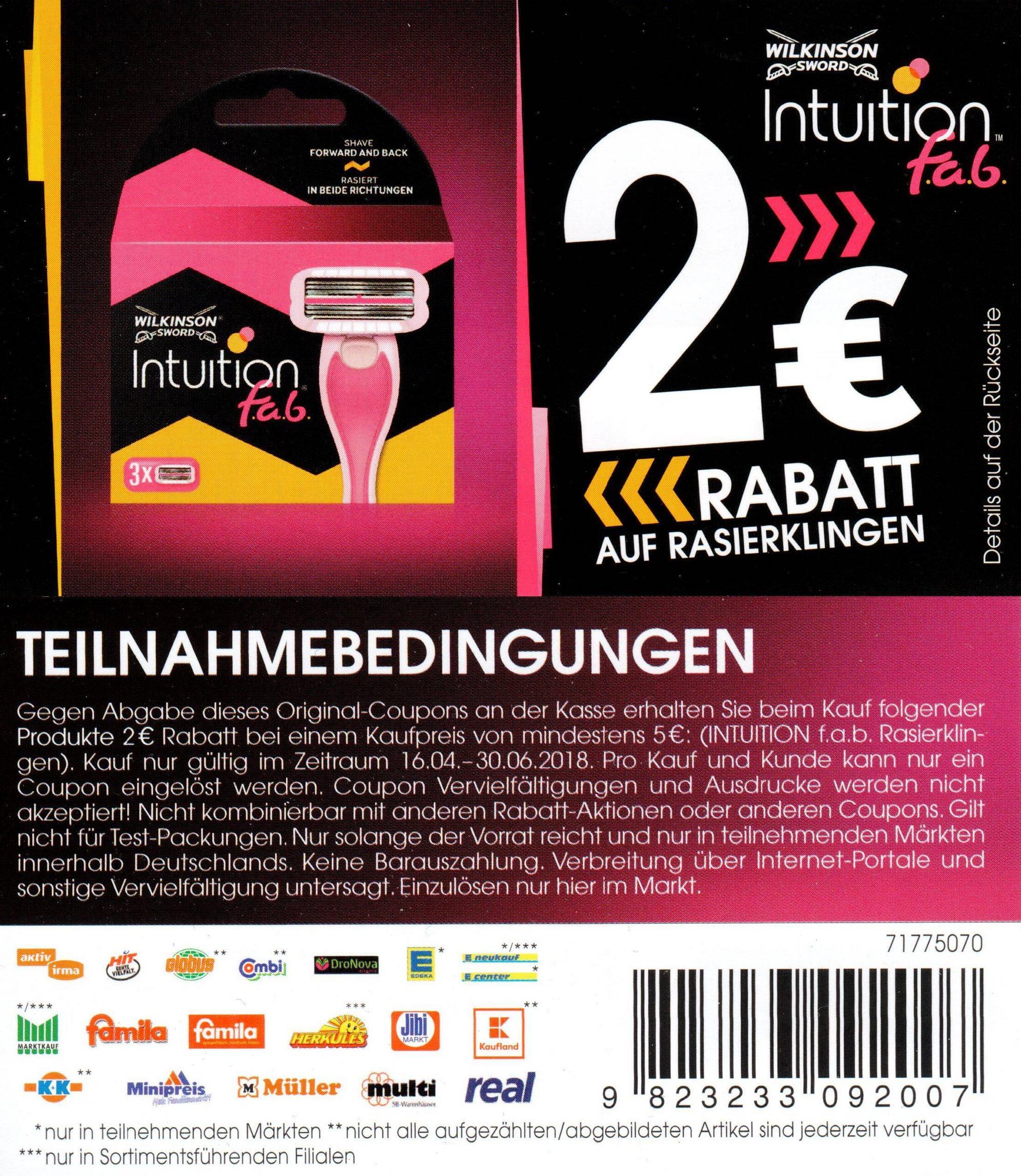 Neuer 2,00€ Coupon für Wilkinson Intuition f.a.b. Rasierklingen bis 30.06.2018