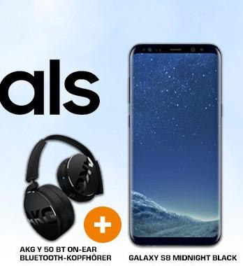 SAMSUNG Galaxy S8 Midnight Black + Bluetooth-Kopfhörer AKG Y50BT schwarz für 483€ [Saturn.at]