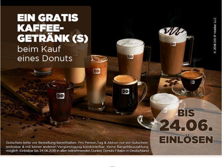 Dunkin Donuts - ein Kaffee gratis zu jedem Donut - DD App