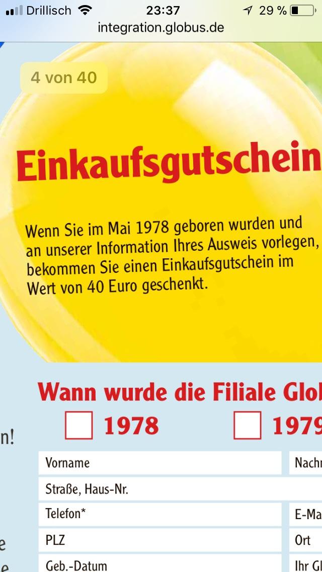 Mai 1978 geboren ? 40€ Einkaufsgutschein Globus Wiesental geschenkt noch bis 05.05.18