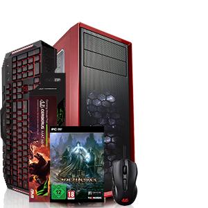 AGANDO agua 2450r5 Cerberus Entry Gaming PC (GTX 1050ti, Ryzen 5-2400G, 8GB RAM, 120GB SSD, 1TB HDD, Windows 10 Home, Asus T&M Bundle)