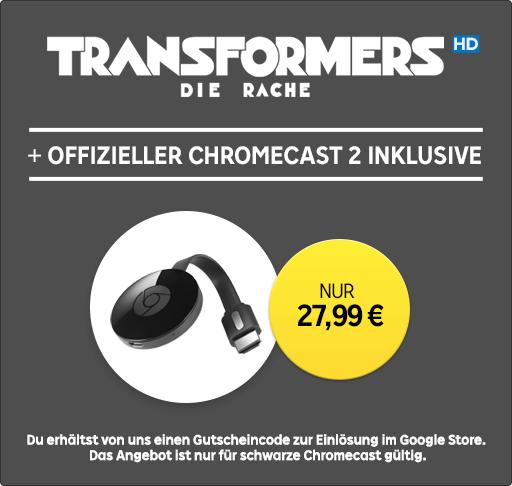 Chromecast 2 + Leihfilm »Transformers 2« in HD für 27,99€ bei Rakuten TV