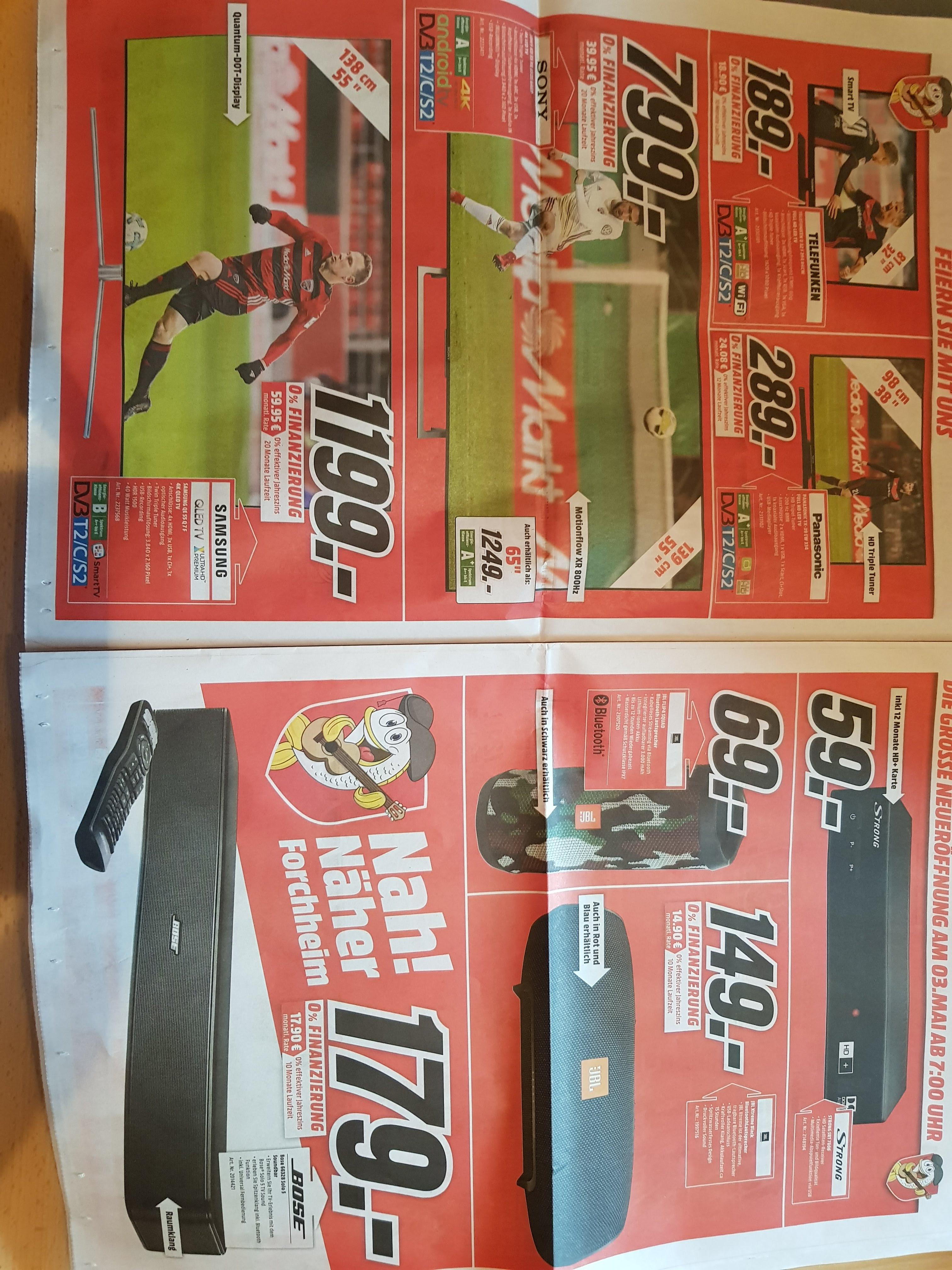 [Forchheim] Media Markt Neueröffnung 03.05. PS4+GranTurismo 199€ / Bose Soundbar Solo 5 179€ / Samsung QE 55 Q7F 1199€ / Gear Frontier 199€