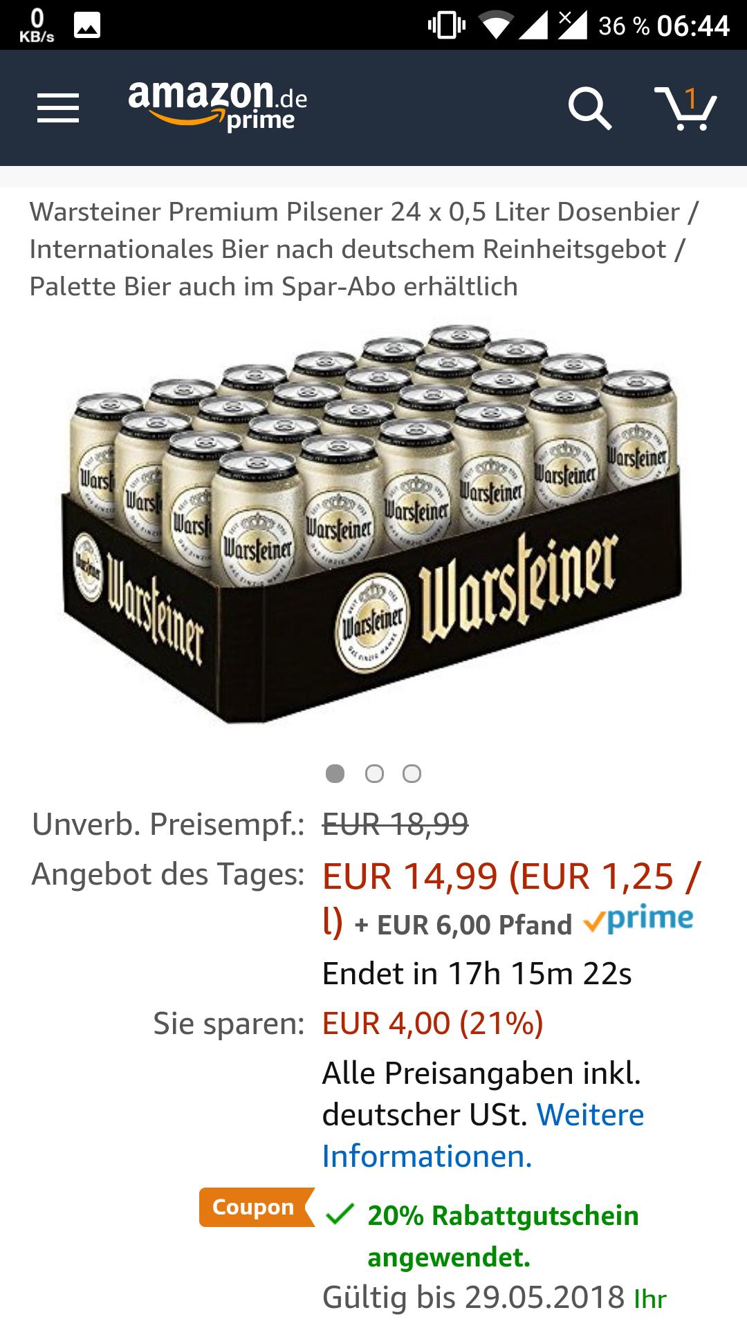 [Prime] Warsteiner Pilsener 24 x 0,5 Liter Dosenbier (eff. 0,49€/Dose)