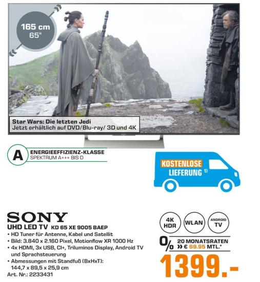 [Lokal Fürth/Nürnberg] Sony KD65XE9005
