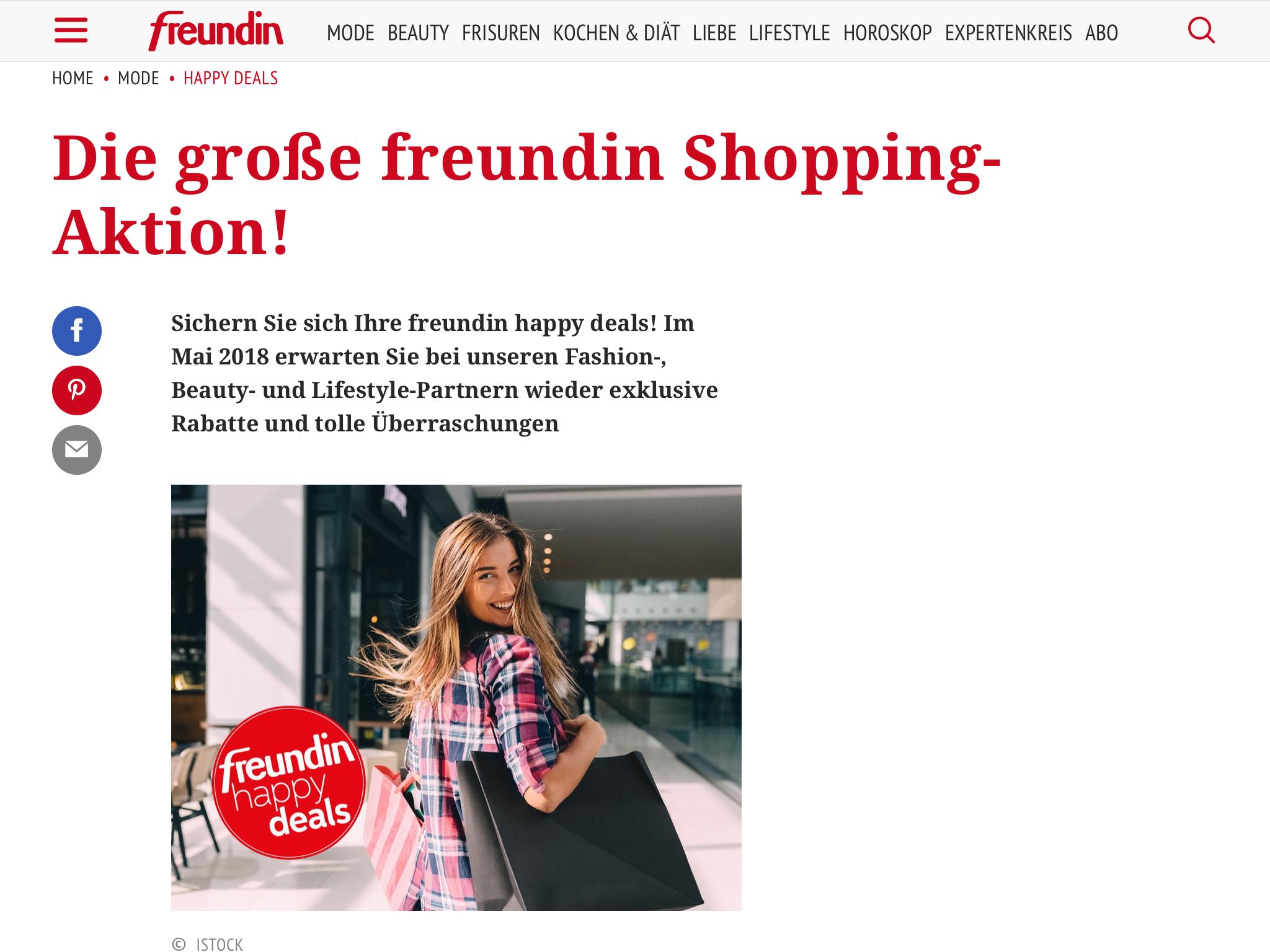 """(Freundin) """"happy deals"""" Gutscheincodes verschiedener Anbieter"""