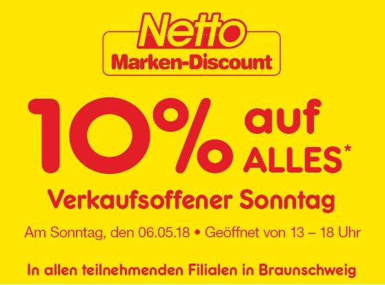[Lokal Braunschweig] Am verkaufsoffenen Sonntag (06.05.) bei DM, Edeka + Netto 10% Rabatt