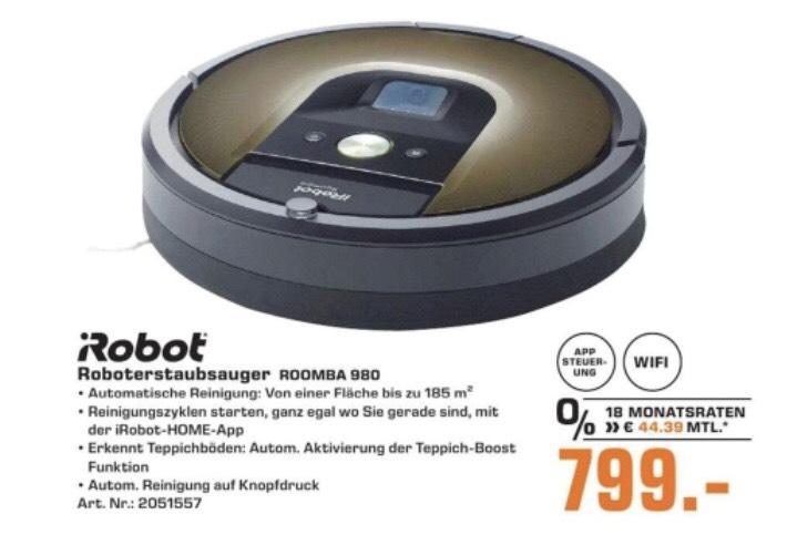 [Lokal Saturn Tübingen] iRobot Roomba 980 für 799€