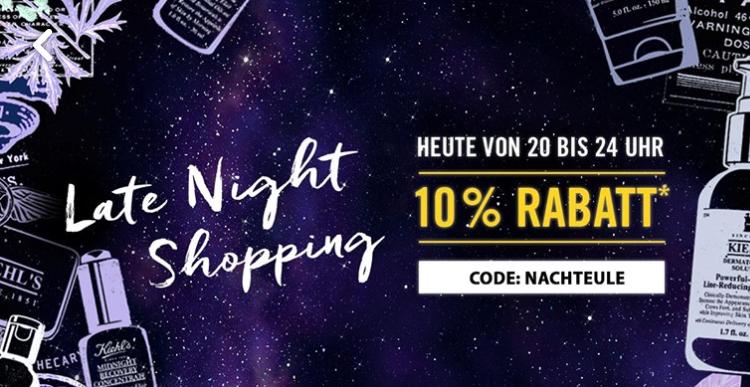 Kiehl's Nachtshopping 03.05. 20-24 Uhr 10% auf Alles (außer rabattiertes)