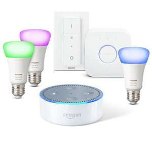 Amazon Echo Dot (2. Generation), Weiß inkl. Philips Hue White & Colour E27 Starter Set mit Bridge