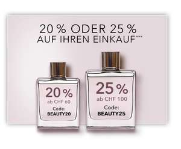 (Schweiz): Douglas Online Shop - 20 oder 25% Rabatt (bis 6. Mai 2018)