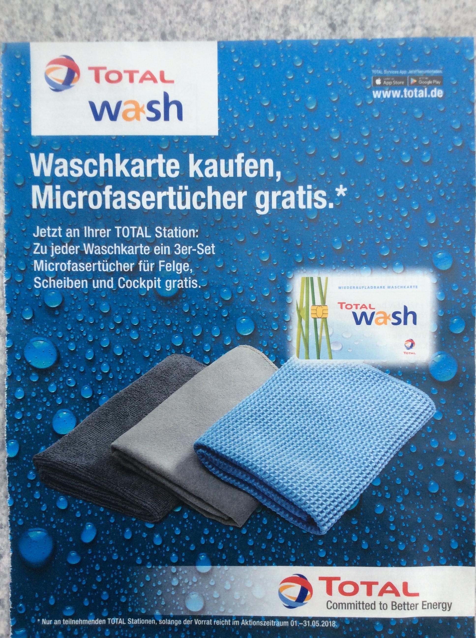 (TOTAL) Waschkarte kaufen und 3 Microfasertücher erhalten