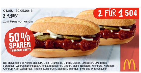 [McDonalds Lokal(u.a. Osnabrück)] 22 neue Gutscheine z.B.: 2x McRib zum Preis von einem