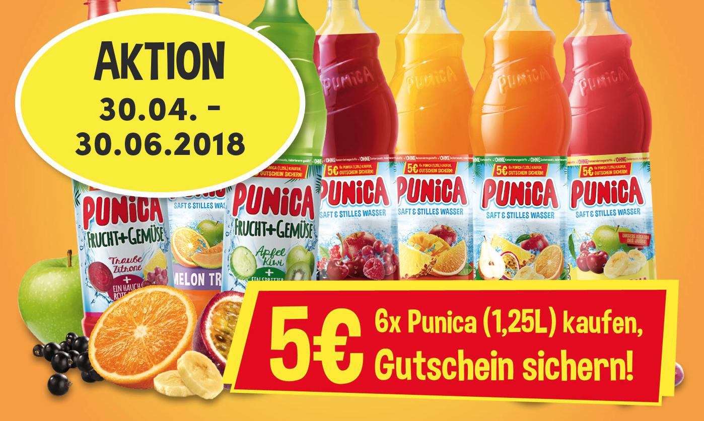 Kaufe 6 Flaschen Punica a 1.25l und erhalte 5€ als Universal Gutschein zurück (Cashback)