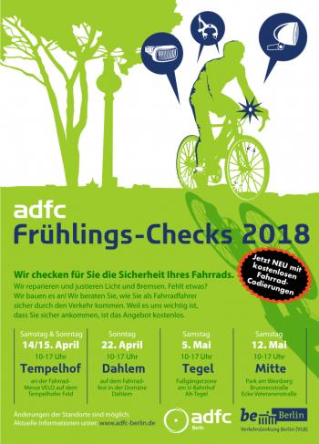 [Lokal Berlin] ADFC Frühlings-Checks 2018: Kostenlos das Fahrrad fit machen!