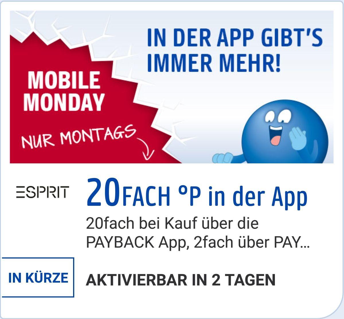 [Esprit.de] Am Montag gibt es 20-fach Payback Punkte auf den gesamten Einkauf
