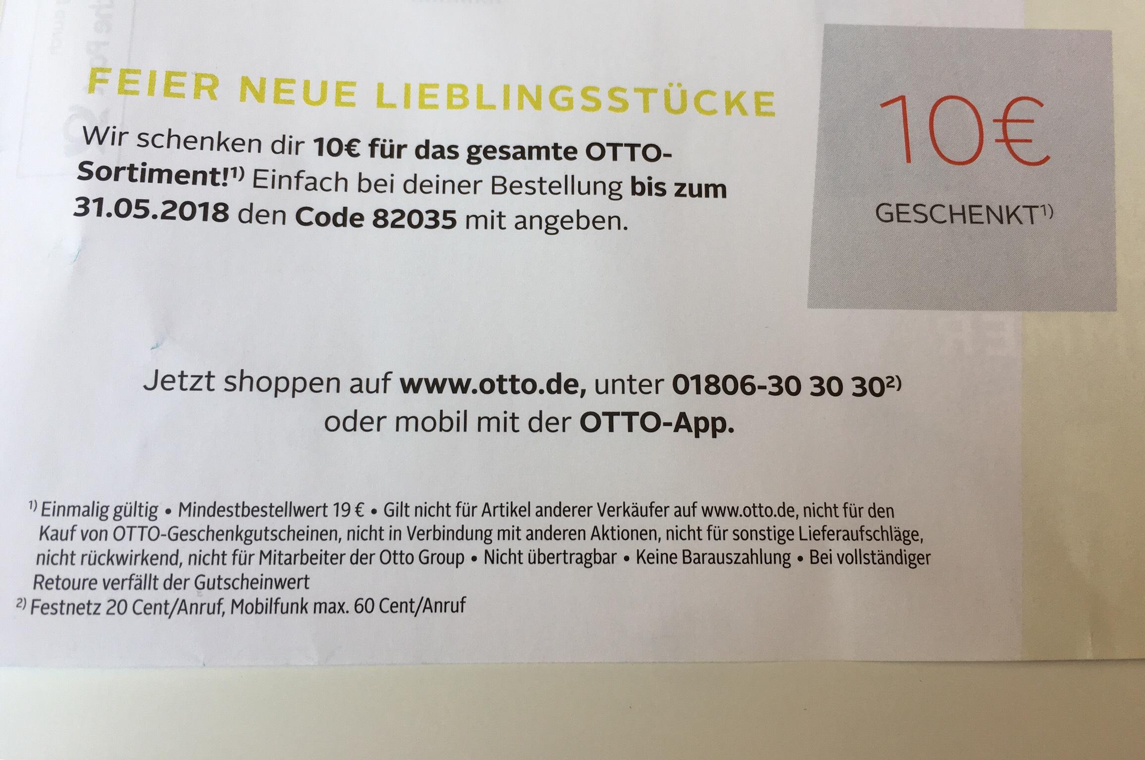10 € Rabatt auf gesamtes Otto-Sortiment (19€ MBW)
