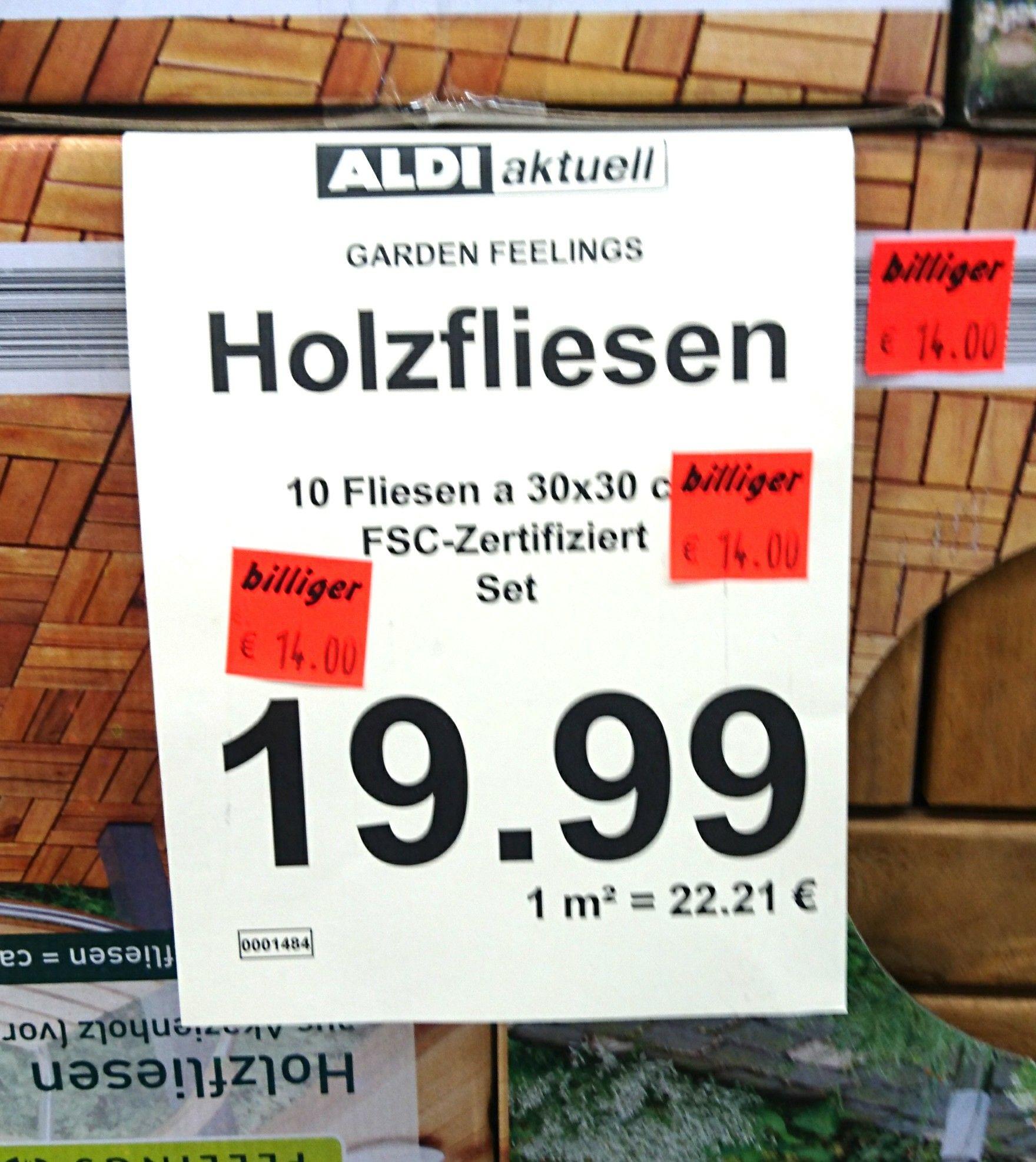 10er Holzfliesen Akazie für 14€ lokal Aldi Coesfeld
