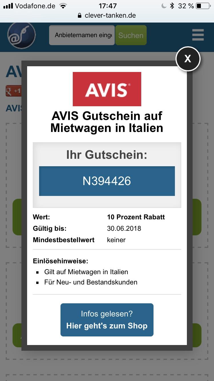 10% Gutschein für dein Mietwagen in Italien von AVIS