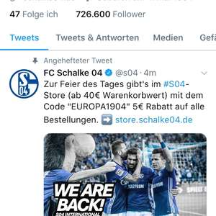 5€ Gutschein (40€ MBW) im FC Schalke 04 Onlineshop