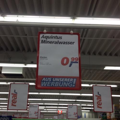 [offline] Real Aquintus Mineralwasser in Glasflaschen für 0,99 EUR die Kiste