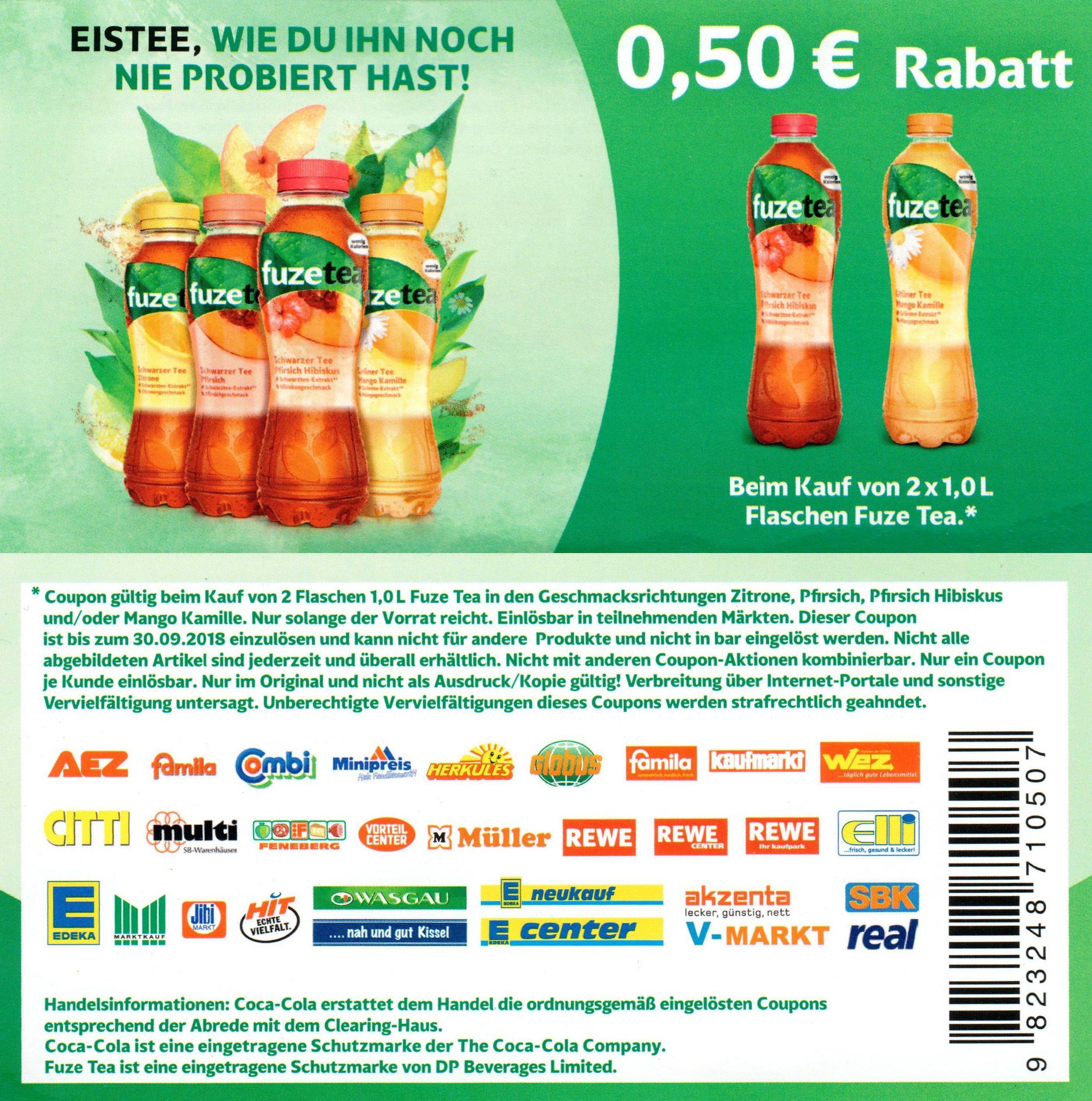 Neuer 0,50€ Coupon für den Kauf von 2x Fuze Tea 1,0l bis 30.09.2018