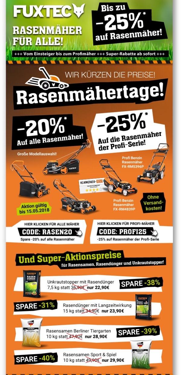 Fuxtec 25% auf Rasenmäher