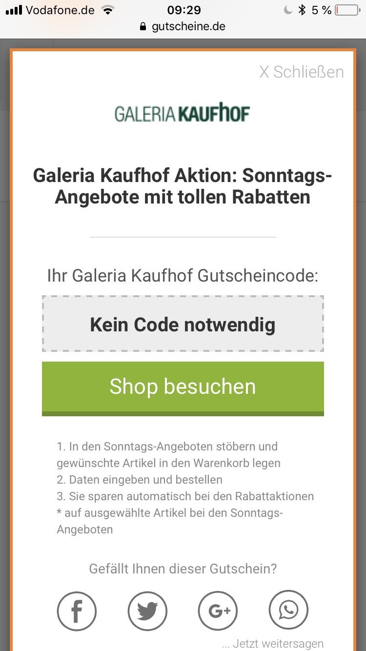 Sonntagsangebot Galeria Kaufhof Online