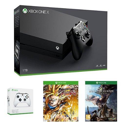 Xbox One X (1 TB) + Xbox One S Wireless Controller (Weiß) + Dragon Ball FighterZ + Monster Hunter World für 503,99€ (Amazon FR)