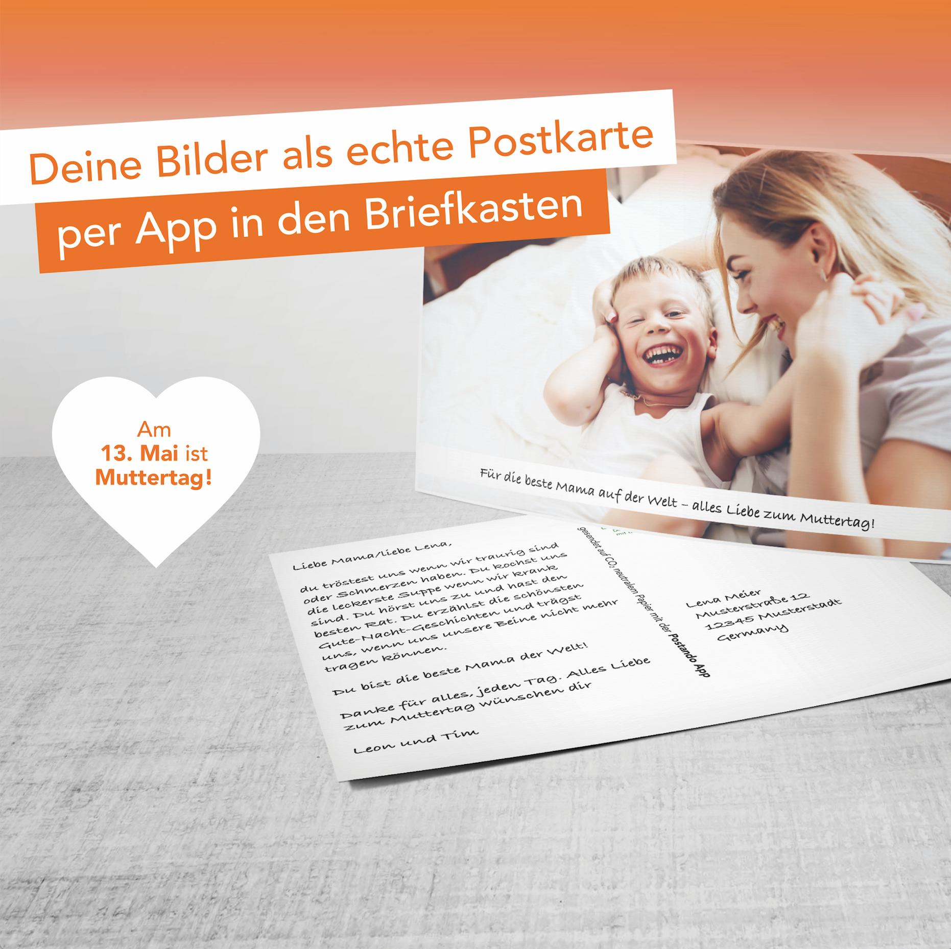 [Postando Android & IOS] Muttertagsaktion - Kostenlos eigene Fotos als Postkarte verschicken