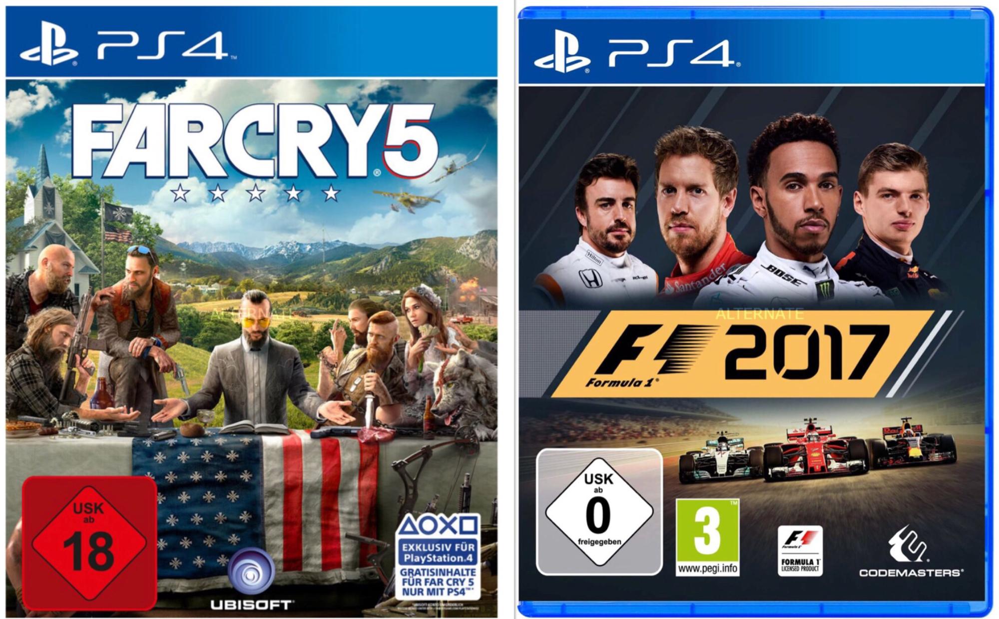 [Alternate] UbiSoft Far Cry 5 +  Codemasters F1 2017 PS4 PlayStation für 66,36€ - bei Bezahlung mit MasterPass und nur heute! (auch andere Kombinationen möglich)