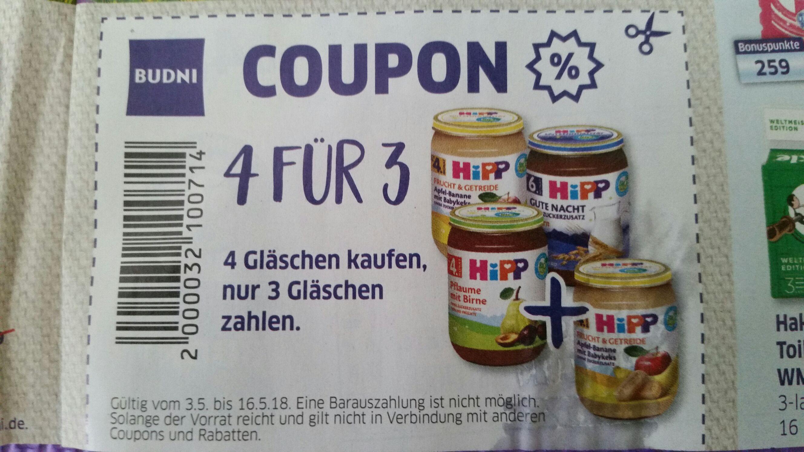 [LOKAL HH] HIPP 4 für 3 Coupon Budnikowski = 0,67 € pro Glas (3.5. - 16.5.2018)