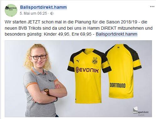 BVB Trikot 2018/2019 für 67,95 Euro (lokal Hamm/Dortmund)