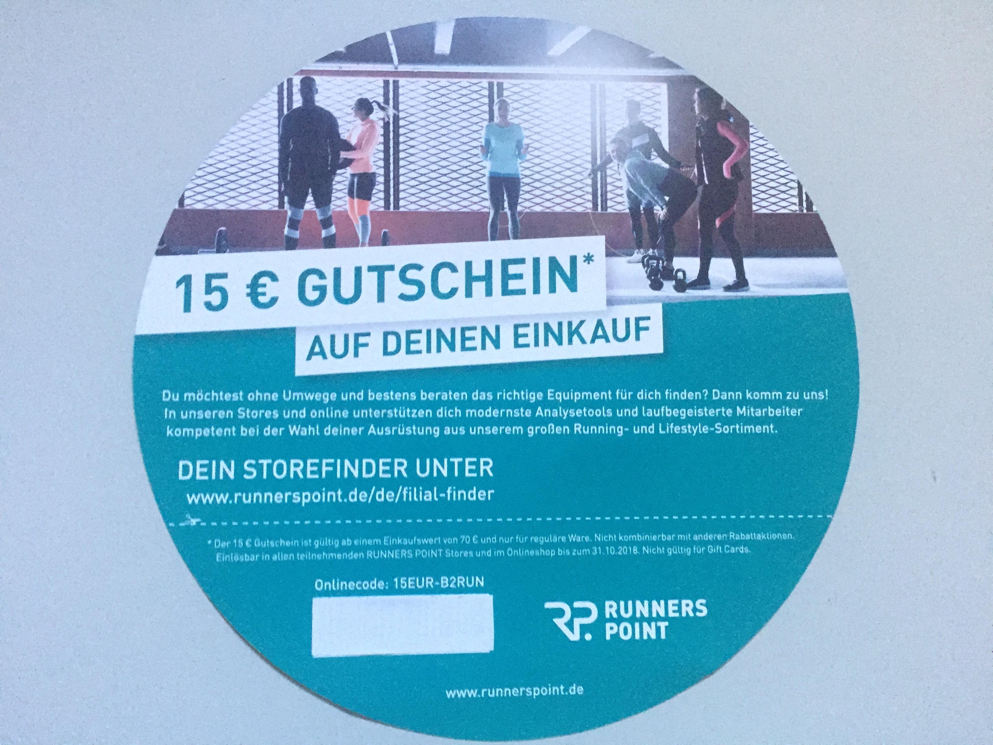 Runnerspoint 15€ Rabatt 70€ MBW (Online