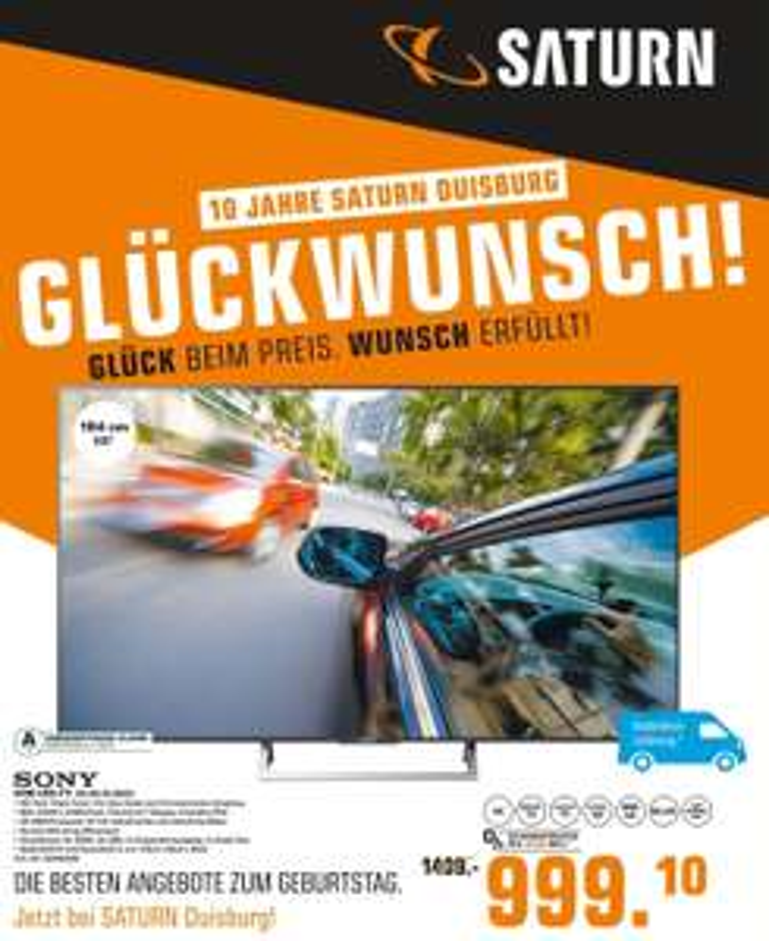 (Lokal) Sony KD-65XE8505 für 999€ @Saturn Duisburg