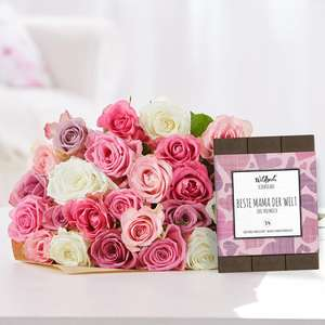 Last-Minute zum Muttertag: Rosenstrauß mit 25 Blüten + Wildbach Schokolade (70g) + versandkostenfrei